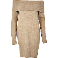 Beige knitted bardot jumper dress