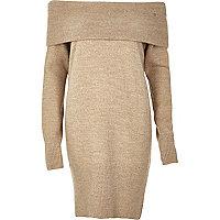 Beige gebreide bardot trui-jurk