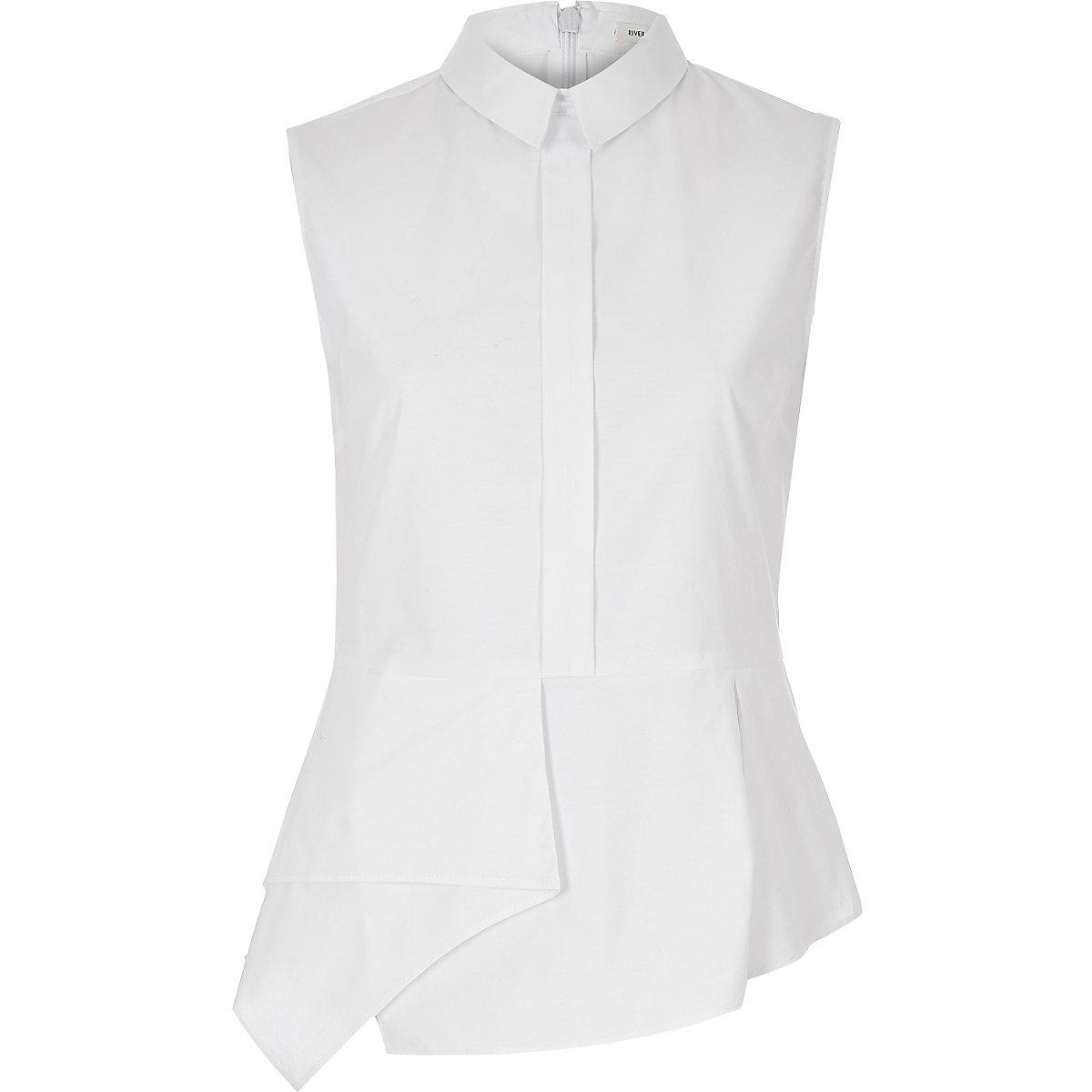 6faf74db75d7b4 White sleeveless peplum shirt - Shirts - Tops - women