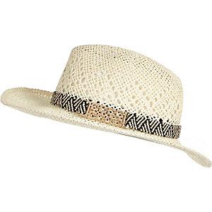 Cream straw fedora hat