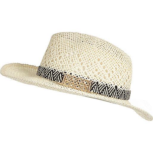 Chapeau fedora en paille crème - Chapeaux - Accessoires - Femme