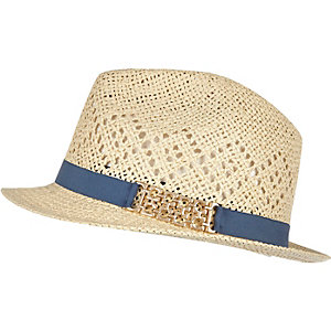 Cream straw trilby hat