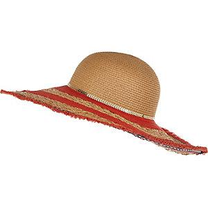 Beige frayed floppy hat