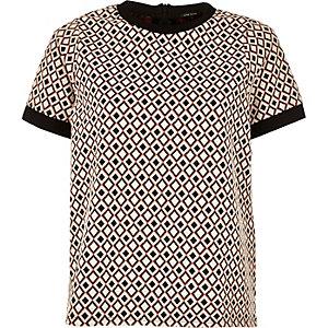 Cream geometric jacquard t-shirt