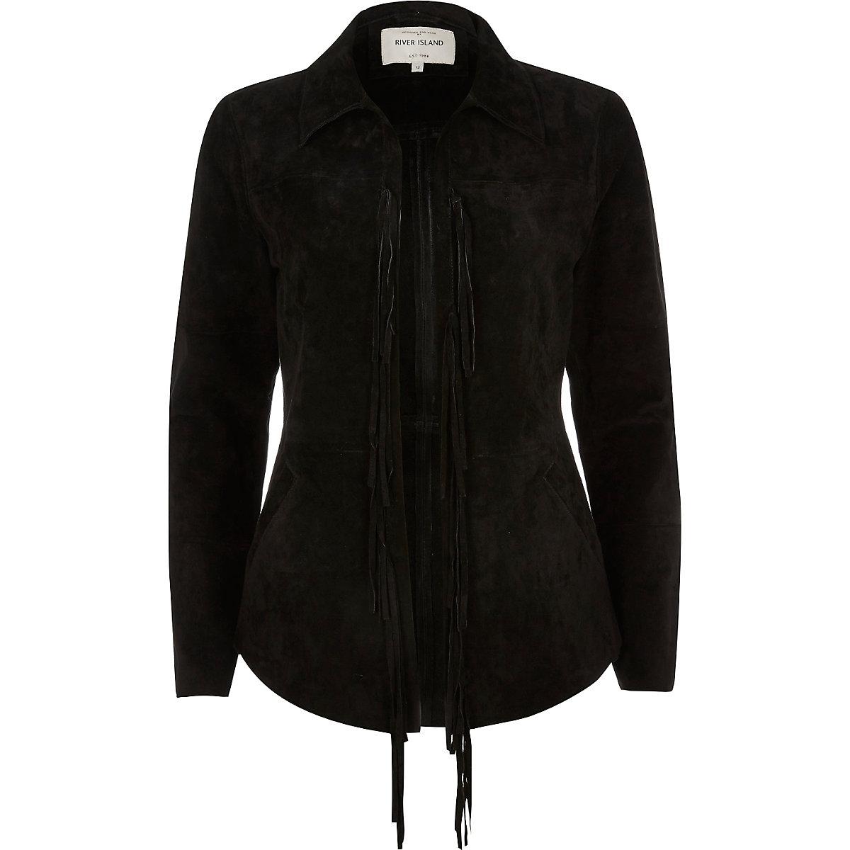 Veste chemise en daim noir à franges - Manteaux   Vestes - Promos ... 2a9fb612bff8
