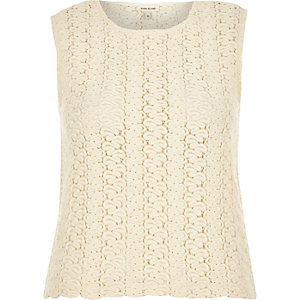 Cream knitted sleeveless top