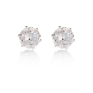 Cubic zirconia silver tone gem stud earrings