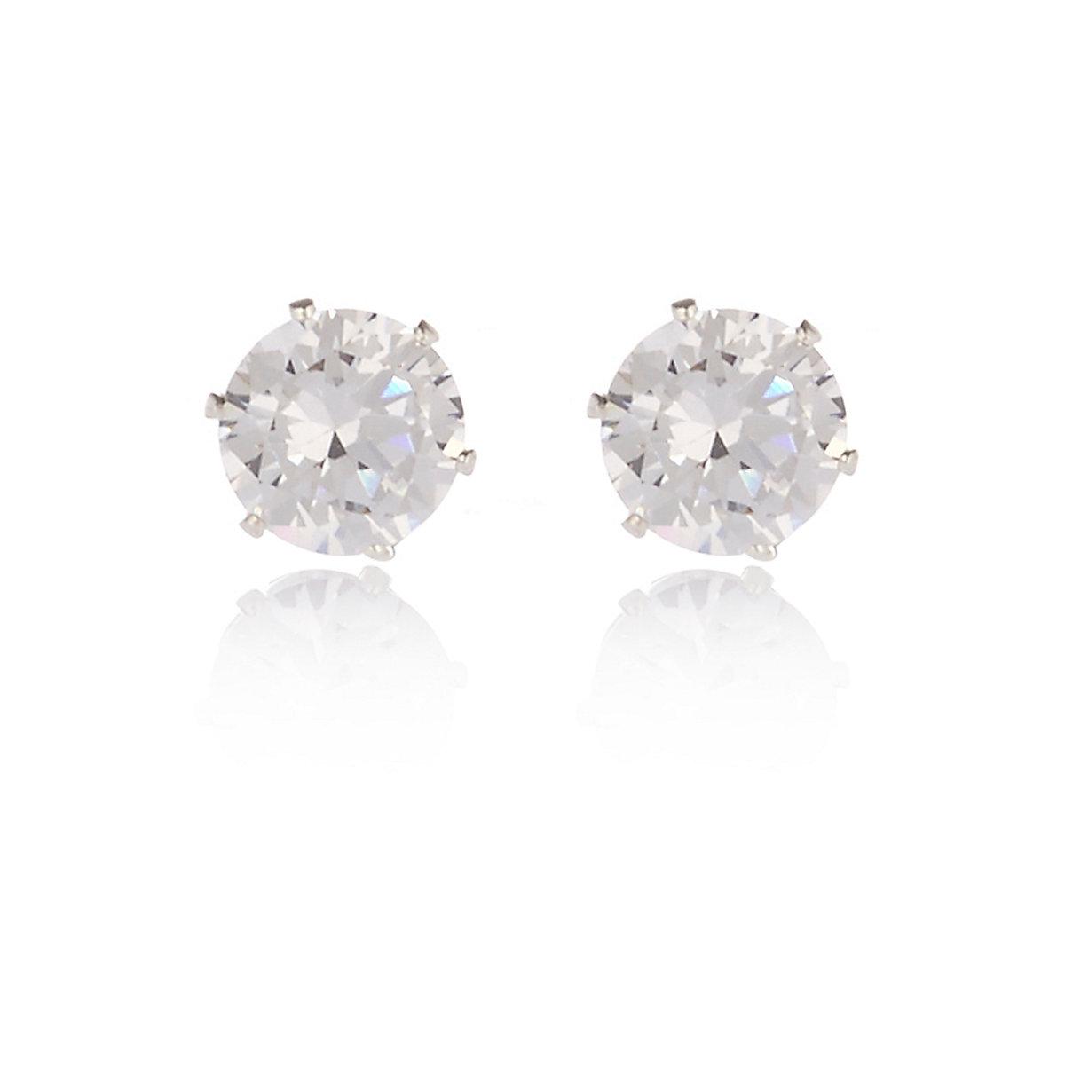 Cubic zirconia silver tone gem stud earrings
