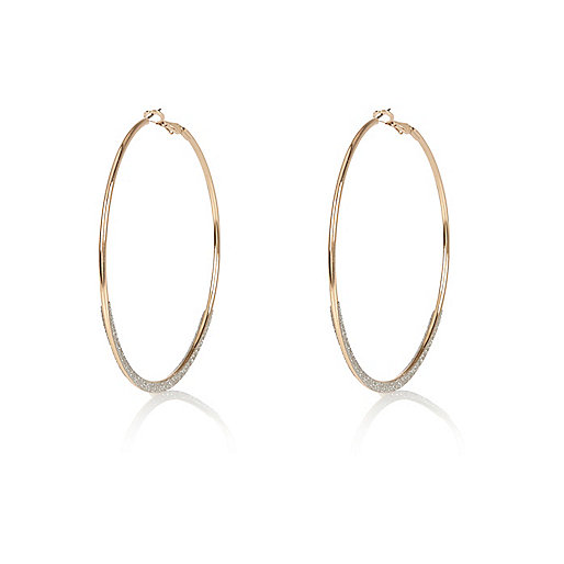 Gold tone glittery hoop earrings