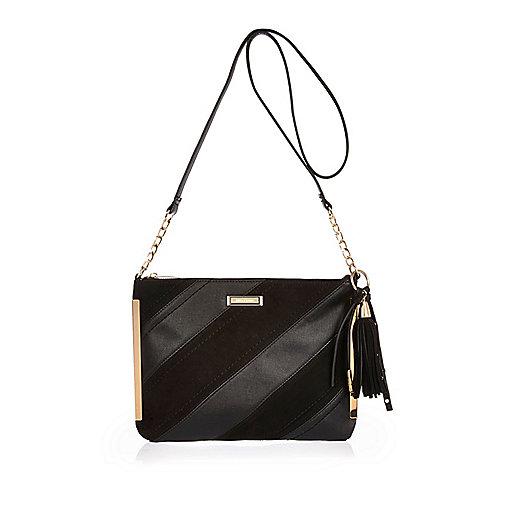 Black diagonal panel crossbody bag