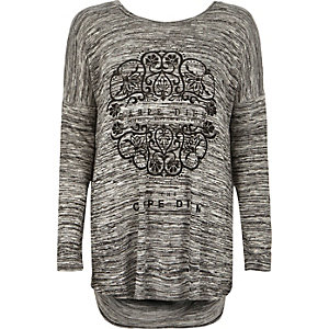 Grey carpe diem oversized top