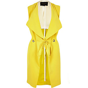 Yellow sleeveless longline eyelet jacket