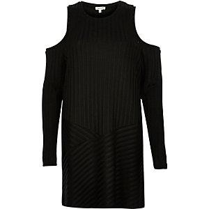 Black ribbed cold shoulder tunic