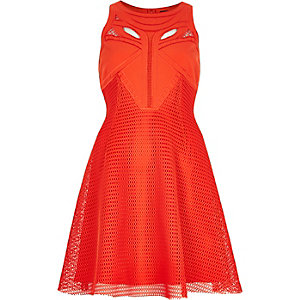 Red mesh cut-out skater dress