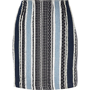 Denim patchwork fringed A-line skirt