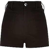 Black denim high rise shorts