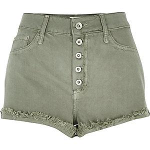 Green high waisted denim shorts