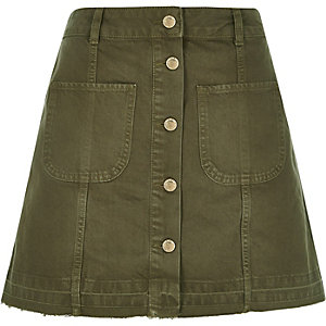 Khaki denim button-up A-line skirt