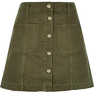 Khaki denim button-up A-line skirt