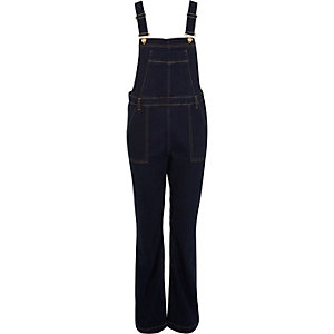 Dark blue denim flared overalls