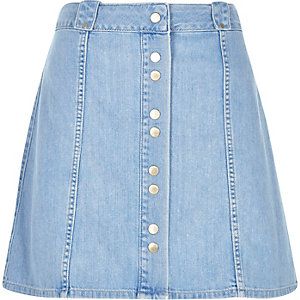Blue denim button-up skirt