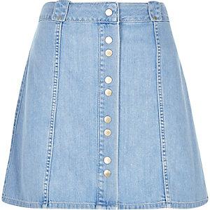 Blue denim button-up skirt