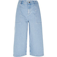 Jupe-culotte en jean bleu