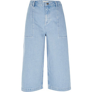 Blue denim culottes