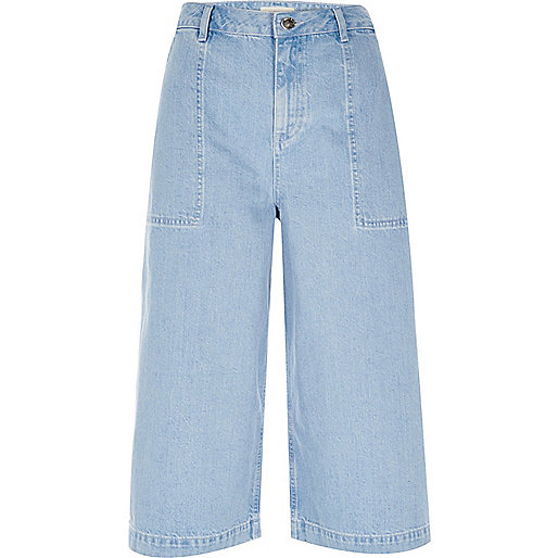 Blue denim culottes
