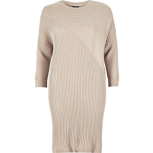 Pale pink ribbed slouchy longline top