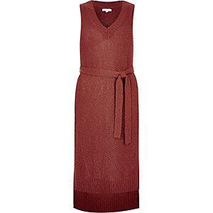 Rust brown knit sleeveless tunic