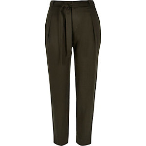 Khaki high rise tie tapered trousers