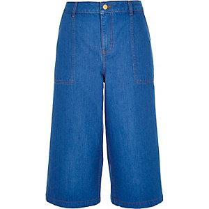 Bright blue denim culottes