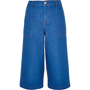 Bright blue denim culottes