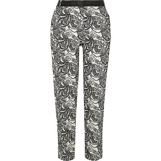 Cream paisley print cigarette trousers
