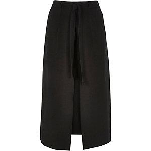 Black utility split front midi skirt