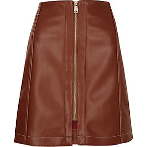 Rust brown leather look skirt