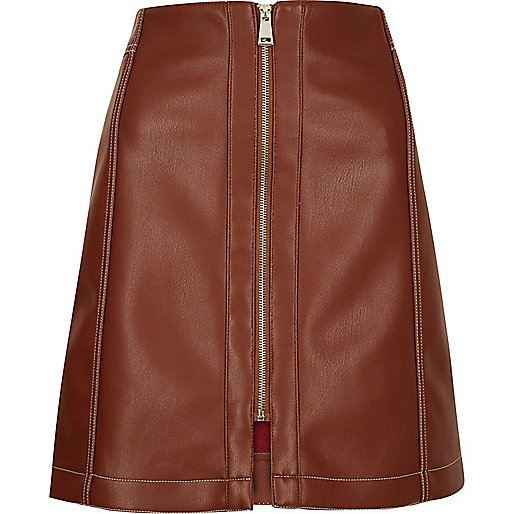 Rust brown leather look skirt