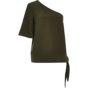 Khaki asymmetric one shoulder top