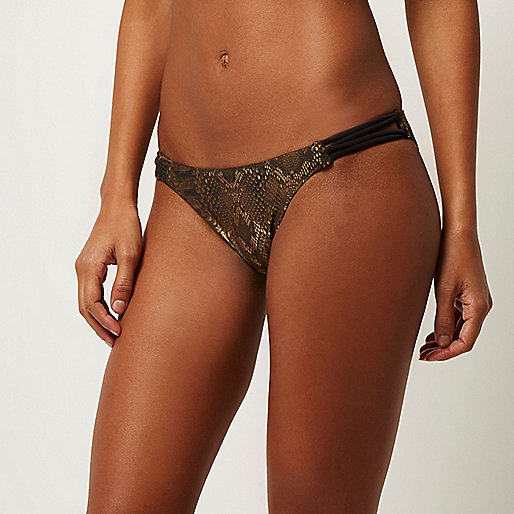 Gold metallic strappy bikini bottoms