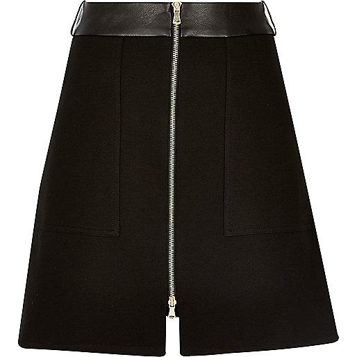 Black zip-up A-line skirt - skirts - sale - women