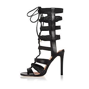 Black strappy tie-up heels