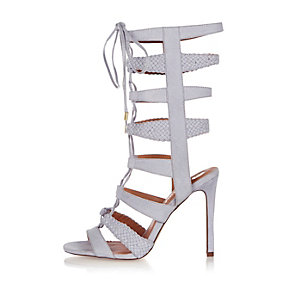 Light blue strappy tie-up heels