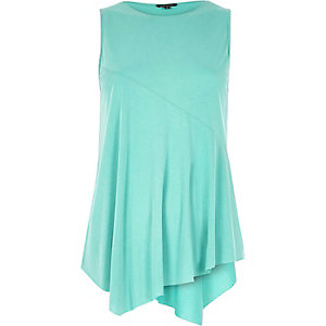Jade green sleeveless asymmetric hem top