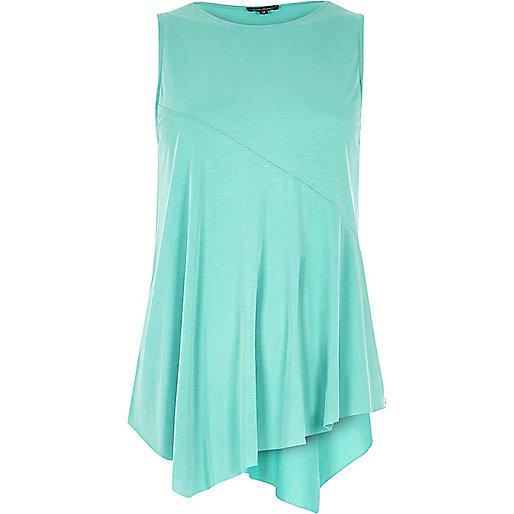 Jade green sleeveless asymmetric hem top