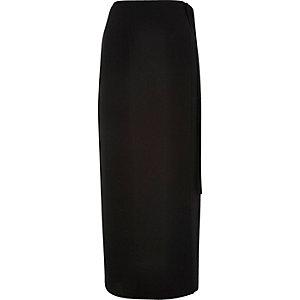 Black side tie maxi skirt