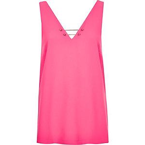 Pink bar V-neck top