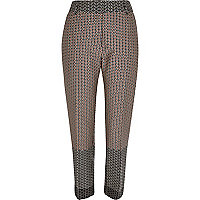 Brown geometric pattern cigarette trousers