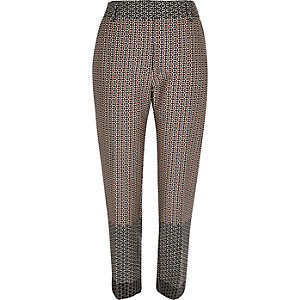 Brown geometric pattern cigarette trousers