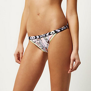 Orange printed bikini bottoms